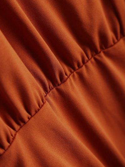 Split Cold Shoulder Bodysuit - ORANGEPINK L Mobile