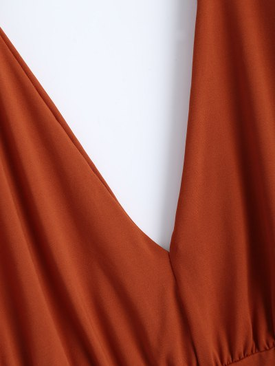 Split Cold Shoulder Bodysuit - ORANGEPINK M Mobile