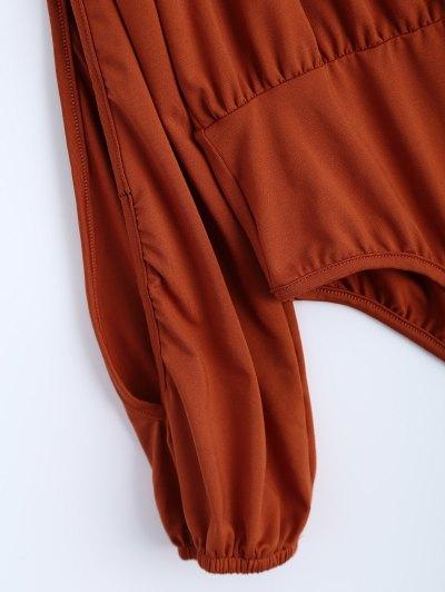 Split Cold Shoulder Bodysuit - ORANGEPINK S Mobile