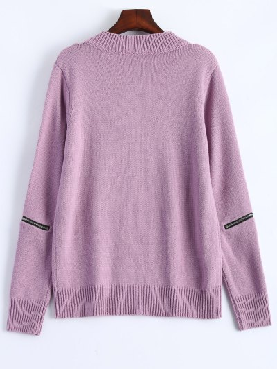 Pullover Zipper V Neck Sweater - PINK 2XL Mobile