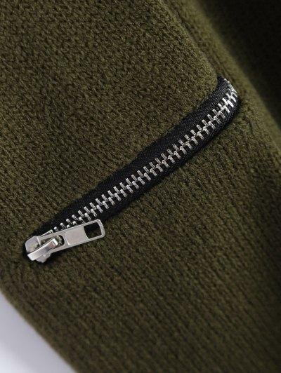 Pullover Zipper V Neck Sweater - ARMY GREEN L Mobile