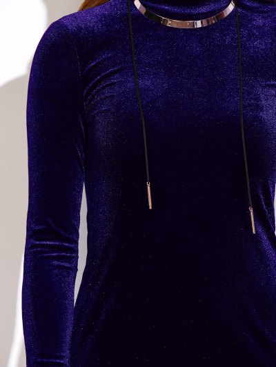 Mock Neck Velvet Mini Bodycon Dress - PURPLISH BLUE ONE SIZE Mobile