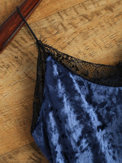 Cami Lace Spliced Tank Top - BLUE ONE SIZE Mobile