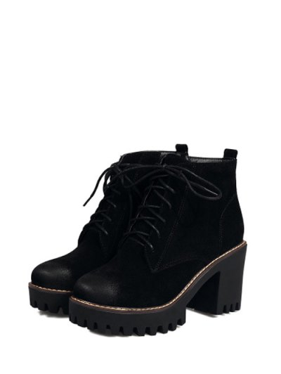 Tie Up Chunky Heel Zip Ankle Boots - BLACK 39 Mobile