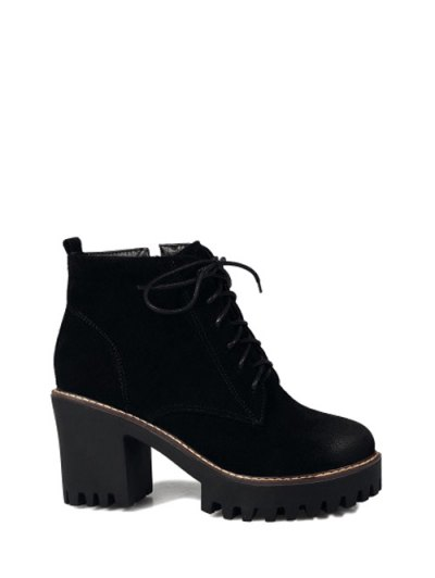 Tie Up Chunky Heel Zip Ankle Boots - BLACK 38 Mobile