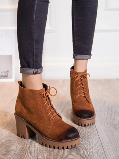 Tie Up Chunky Heel Zip Ankle Boots - BROWN 39 Mobile