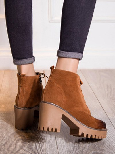 Tie Up Chunky Heel Zip Ankle Boots - BROWN 37 Mobile