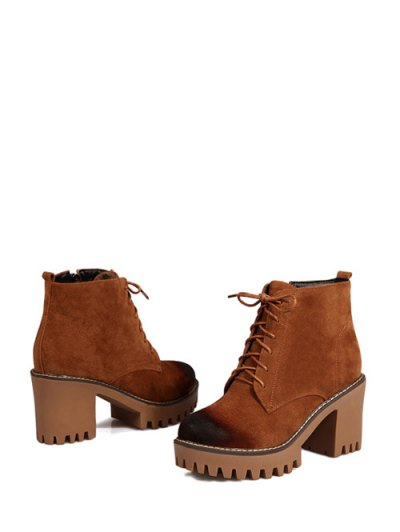 Tie Up Chunky Heel Zip Ankle Boots - BROWN 38 Mobile