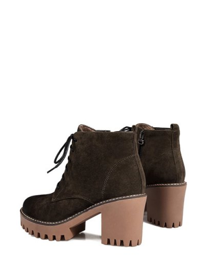Tie Up Chunky Heel Zip Ankle Boots - ARMY GREEN 38 Mobile