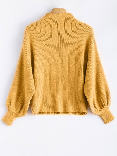 Ribbed Puff Sleeve Mock Neck Sweater - YELLOW ONE SIZE Mobile
