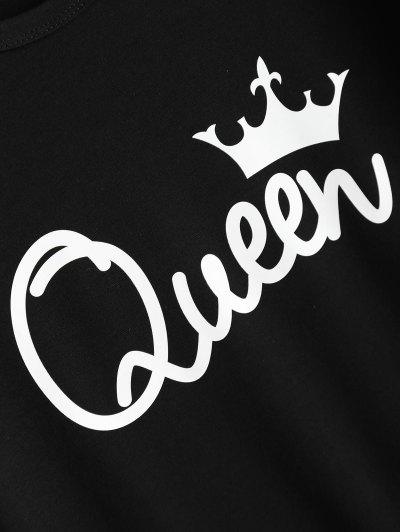 Streetwear Jewel Neck Queen Crown T-Shirt - BLACK L Mobile