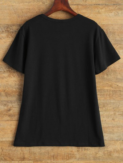 Streetwear Jewel Neck Queen Crown T-Shirt - BLACK L Mobile