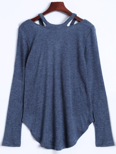 Cut Out V Neck Pullover Sweater - BLUE GRAY S Mobile