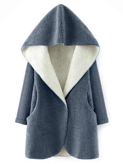 Hooded Fluffy Fleece Coat With Knit Sleeve - Gray