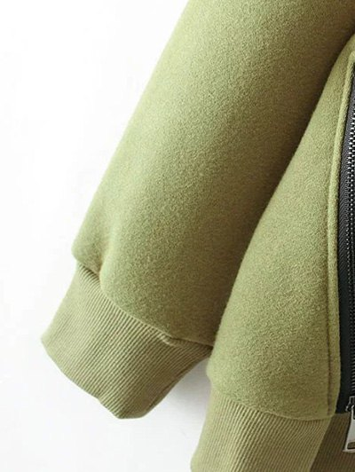 String Zippered Hoodie - ARMY GREEN L Mobile