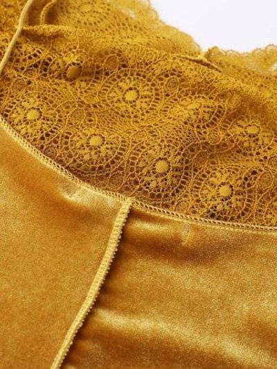 Velour Lace Panel Mini Dress - GRAY L Mobile