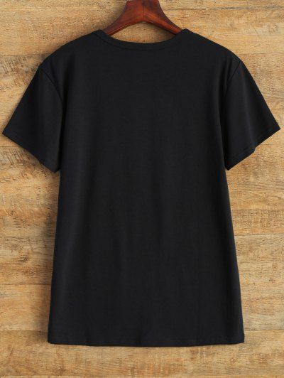 Jewel Neck Alien T-Shirt - BLACK S Mobile