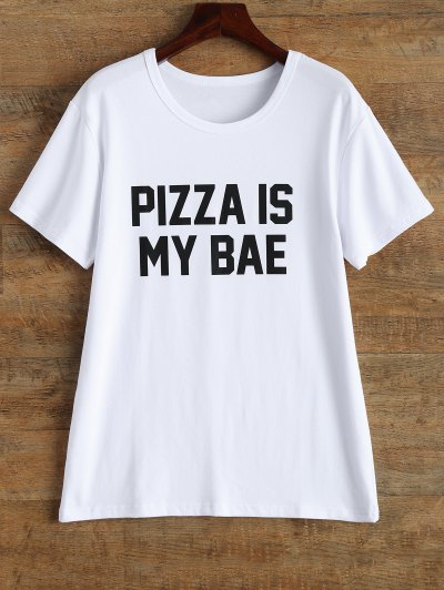 Jewel Neck Pizza Is My Bae T-Shirt - WHITE M Mobile