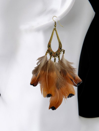 Water Drop Feather Tassel Earrings - ANTIQUE BROWN  Mobile