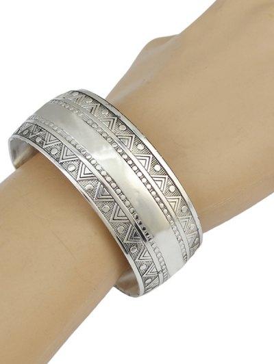 Ethnic Triangle Alloy Cuff Bracelet - SILVER  Mobile