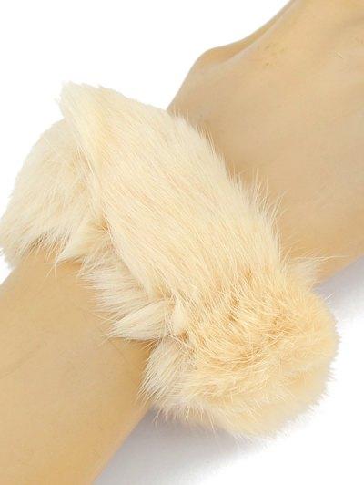 Furry Ball Elastic Bracelet - BEIGE  Mobile