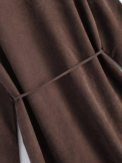 Faux Suede Duster Coat - BROWN L Mobile