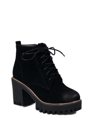 Tie Up Chunky Heel Zip Ankle Boots - BLACK 37 Mobile