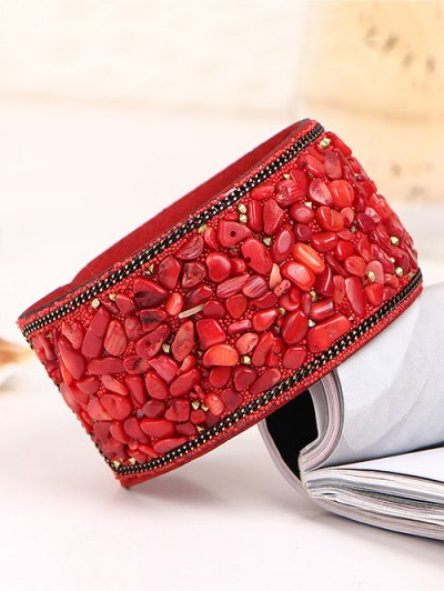 Natural Stone Faux Leather Bracelet - RED  Mobile