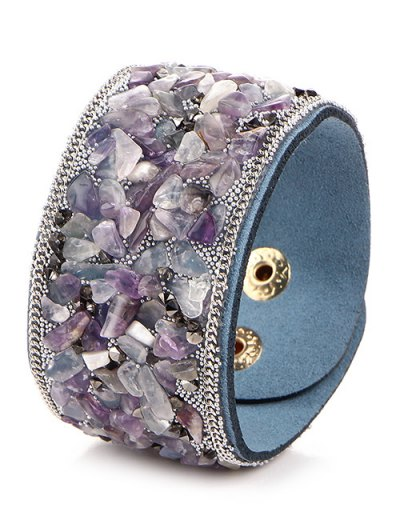 Natural Stone Faux Leather Bracelet - BLUE VIOLET  Mobile