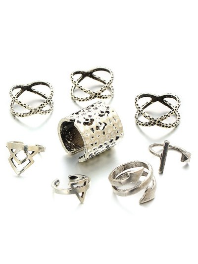 Vintage Geometric Ring Set - SILVER ONE-SIZE Mobile