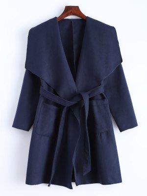 Wrap Woolen Coat With Pockets - Deep Blue