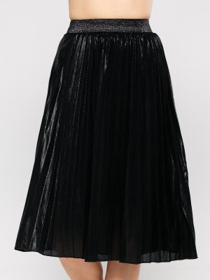 Pleated Tea Length Skirt - Black