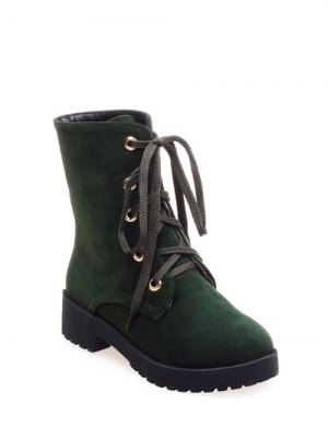 Dark Color Tie Up Platform Ankle Boots