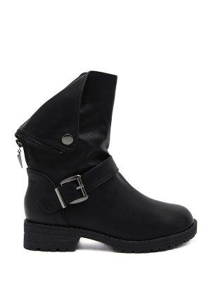 Belt Buckle Zipper Short Boots - Black