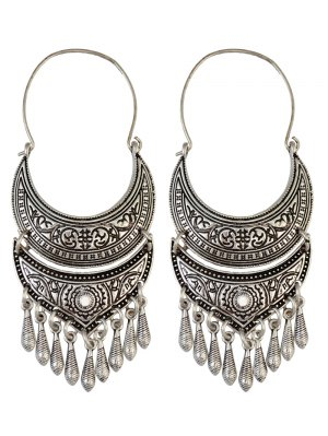 Crescent Tear Drop Earrings - Silver