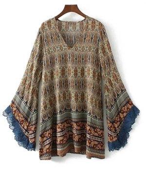 Bell Sleeve Lace Trim Boho Print Dress