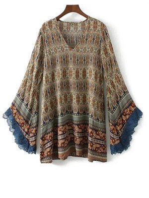 Bell Sleeve Lace Trim Boho Print Dress