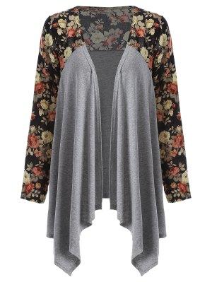 Floral Print Duster Coat - Gray