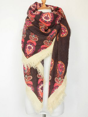 Floral Pattern Fringe Square Scarf - Coffee