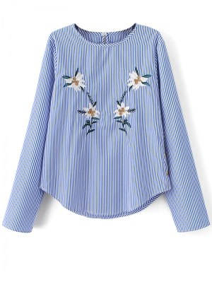 Stripe Embroidered Blouse - Blue