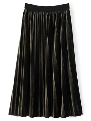 High Waist Midi Pleated Skirt - Blackish Green