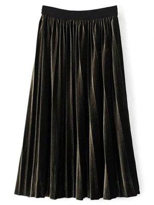 High Waist Midi Pleated Skirt - Blackish Green