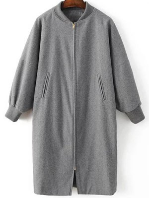 Stand Neck Zippered Long Baseball Coat - Gray