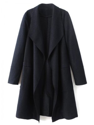 Turndown Collar Woolen Blend Coat - Cadetblue
