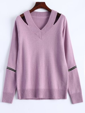 Pullover Zipper V Neck Sweater - Pink
