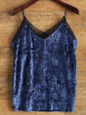 Cami Lace Spliced Tank Top - Blue