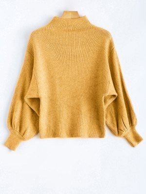 Ribbed Puff Sleeve Mock Neck Sweater