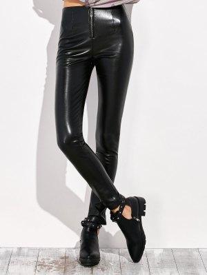Pencil PU Pants - Black