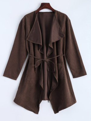 Faux Suede Duster Coat - Brown