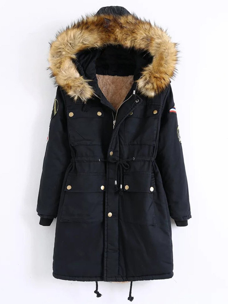 Zip-Up Patch Parka Coat